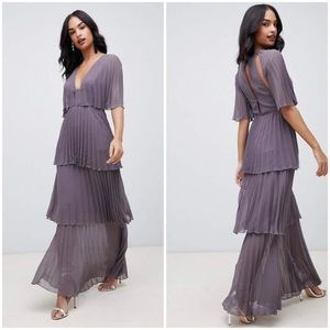 ASOS Purple Gray Pleated Tiered Maxi Dress